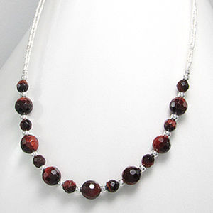 Sterling Silver Red Tiger-Eye Necklace